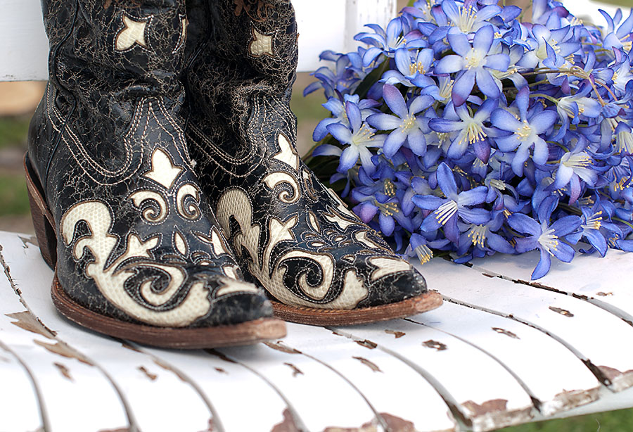 bridal bouquet, cowgirl boots, classy wedding boots,
