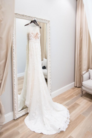 fitted bridal dress photo in bridal suite