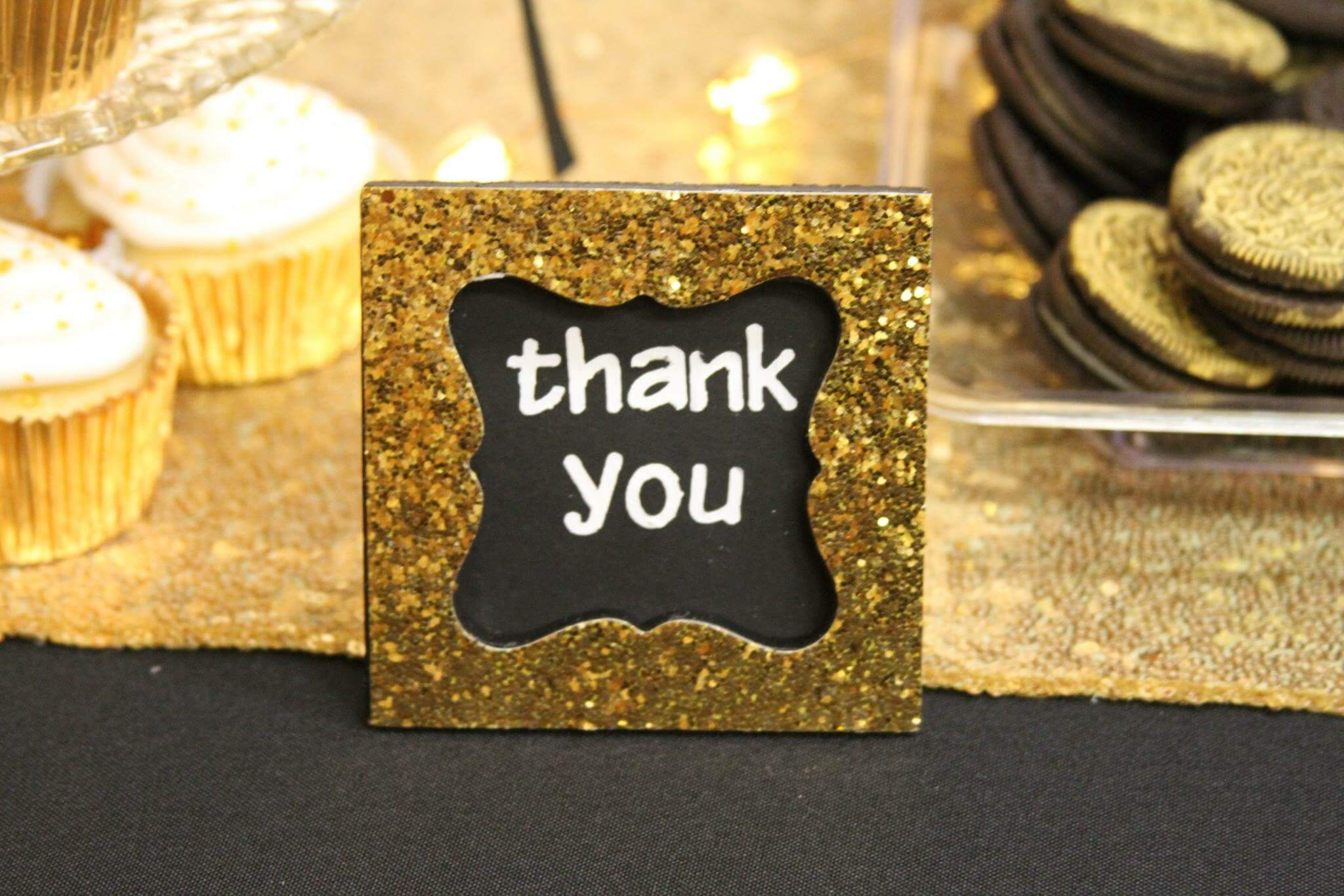 Thank you gold glitter sign