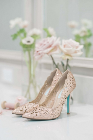 nude sparkle wedding shoes with neutral floral tones