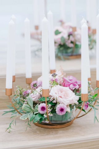 floating floral wedding chandeliers with candles
