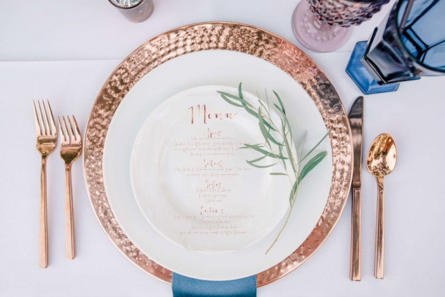 copper plate; copper dishware, simple placesetting